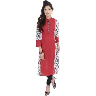 RajLaxmi Jaipuri Print Red And White Girls Cotton Kurti