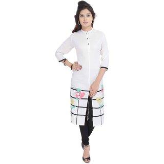 RajLaxmi Lovely Flower Designed Girls White Rayon Kurti