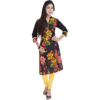 RajLaxmi Lovely Flower Printed Girls Black Cotton Kurti