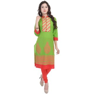 RajLaxmi Lovely Rajasthani Green Print Cotton Kurti