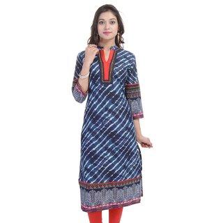 RajLaxmi Beautiful Lehriya Blue Cotton Kurti