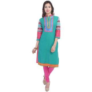 RajLaxmi Rajasthani Print Girls Green Cotton Kurti