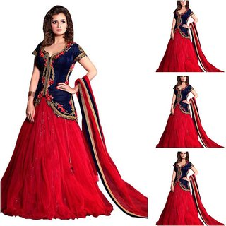 Original blue and red mirza anarkali lehenga by bhoomi fashion