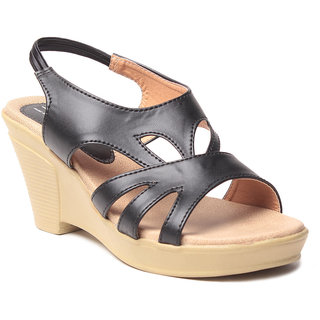 Msc WomenS-Black-Synthetic-Wedges (MSC-259-952-Wedges-BLACK)