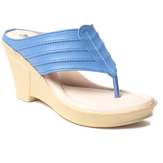 Msc WomenS-Blue-Synthetic-Wedges (MSC-259-6201-Wedges-BLUE)