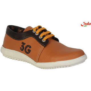 Indo Brown Synthetic Leather PVC Casual Shoes for Kids