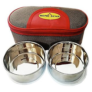 High quality Lunch box With Two stainless steel container for Regular use .