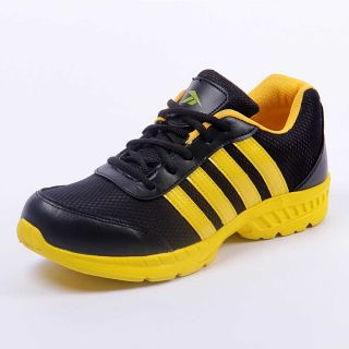 Foot 'n' Style Comfortable Black & Yellow Sports Shoes (fs430)