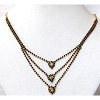 Black Adjustable stone 3 line necklace