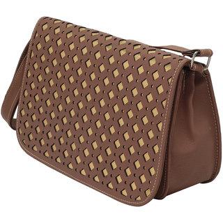 Elysin Structured Cutwork Detail Handbag ELYFB60BRWN