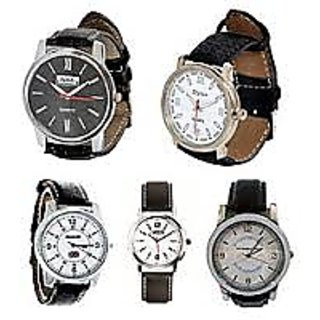 Combo for Men 5 Leather Strap Wrist Watches