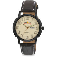 ALPINE CLUB SWITZERLAND ACW-014-YEL-BK-BRW MEN DAY AND DATE WATCH