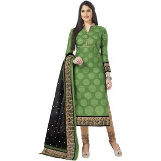 Miraan Green Cotton Printed Kurta & Churidar Dress Material