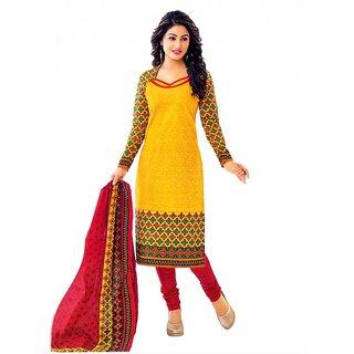 Miraan Yellow Cotton Printed Kurta & Churidar Dress Material