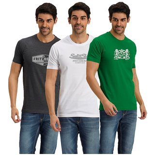 Fritzberg Pack of 3 Multicoloured Solid Round Neck Mens T-shirt.