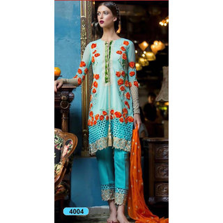 Trendz Apparels Blue Georgette Straight Fit Salwar Suit