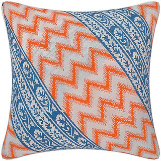 Cotton Treat Orange  Blue Ikkat Stripes Hand Block Printed Cotton Cushion Cover (Pack of 5)
