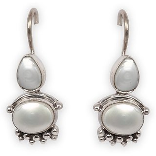 Silverwala Princess Delight Pearl Silver Drop Earring (TRS3647)