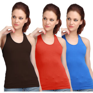 Sona WomenS Black/Red/Sky Blue Racer Back Camisole