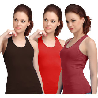 Sona WomenS Black/Red/Maroon Racer Back Camisole
