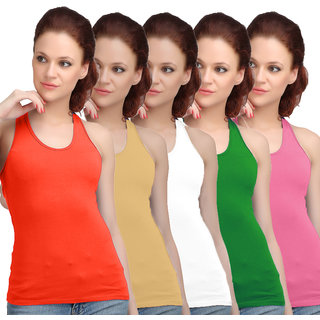 Sona WomenS Orange/Skin/White/Green/Pink Racer Back Camisole