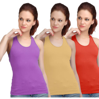 Sona WomenS Purple/Skin/Red Racer Back Camisole