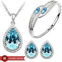 CYAN Crystal Teardrop Style Jewellery Set with Earrings  Bracelet - Combo