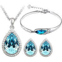 CYAN crystal teardrop style crystal jewelry set Combo  with charming bracelet