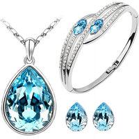 CYAN teardrop style crystal jewelry set Combo  with elegant bracelet