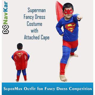 Super Hero Superman Kids Fancy Dress Suit Outfit Costume