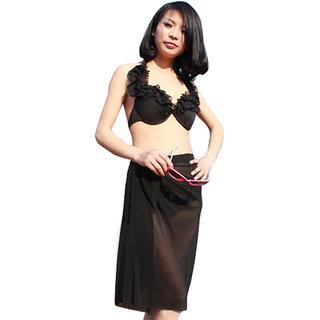 Chic And Modish Jet Black Ruffled Halter Stylish 3-Piece Bikini Set With Incredible Wrap