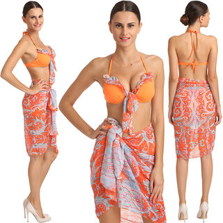Lovable 3-Piece Orange Retro Print Sarong Set With Matching BoyLeg Bottom