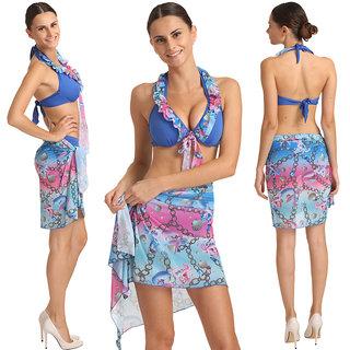 Exotic And Glamorous 3 Pcs Multi Blue Ruffle Halter Tie Bikini Set Sarong With BoyLeg Bottom