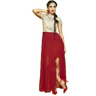 Designer Red Georgette Embroidered Kurti