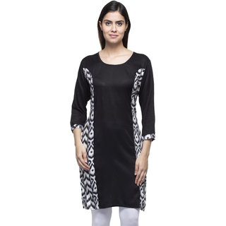 Black Rayon Ikat Print Side Panel Long Kurti