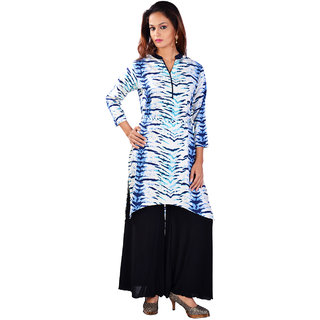 Siyaa Rayon White Abstract Designer Kurti196L