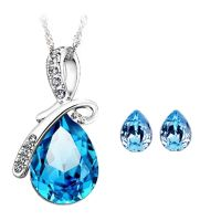 CYAN bow style crystal jewelry set