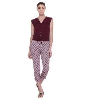 TAB91 Maroon Casual Jumpsuits For Women