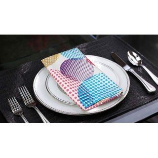 Lushomes Circles Printed Cotton 6 Table Napkins Set (Dinner Napkins)