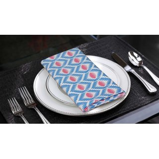 Lushomes Diamond Printed Cotton 6 Table Napkins Set (Dinner Napkins)