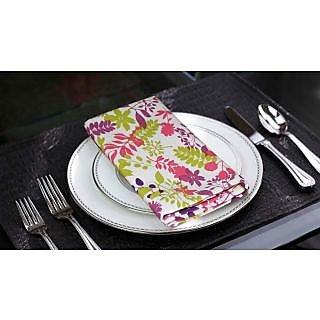 Lushomes Purple Rain Printed Cotton 6 Table Napkins Set (Dinner Napkins)