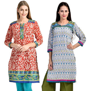 The BrandStand Red Crepe Set Of 2 Kurtis For Women (Cmb2-KRT6071-Red-Trq-6074-Trq)