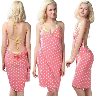 Sexy Backless Style Splendid Peach Polka Dot Print Summer Wrap Skirt Beach Dress