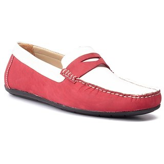 FLOURISH White  Red Color Genuine Leather Driving Shoes