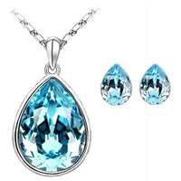 CYAN teardrop style crystal jewelry set