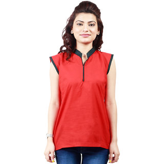 The BrandStand Red Cotton Short Kurti For Women (VSKRT6008RED)