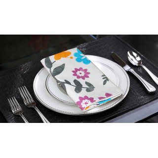 Lushomes Flower Printed Cotton 6 Table Napkins Set (Dinner Napkins)