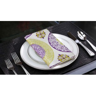 Lushomes Bold Printed Cotton 6 Table Napkins Set (Dinner Napkins)
