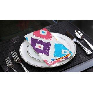 Lushomes Square Printed Cotton 6 Table Napkins Set (Dinner Napkins)