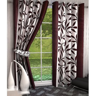 Geonature Brown Kolavery Eyelet Window Curtains Set Of 6 Size 4X5 (6WIN5F-75)